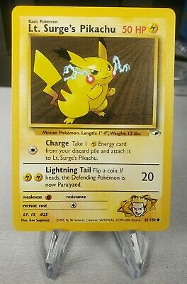 Lt. Surge's Pikachu 81/132 Common Gym Heroes NM/M WOTC Pokemon Card - FREE SHIP