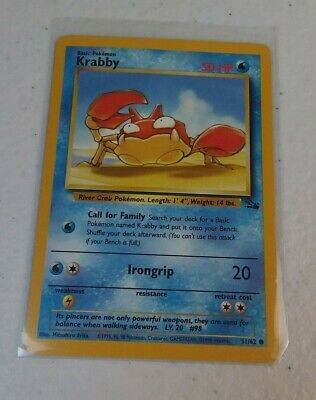 Krabby 51/62 Fossil Set Pokemon Trading Card