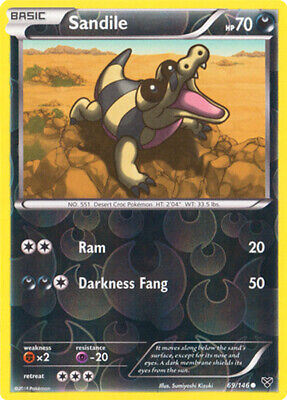 1x Sandile - 69/146 - Common - Reverse Holo XY Pokemon Near Mint