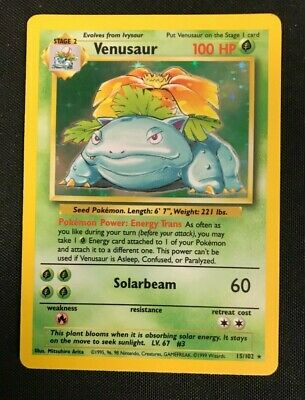 1999 Pokemon Card Venusaur 15/102 Base Set Holo!! Abolutely Gorgeouse Gradable