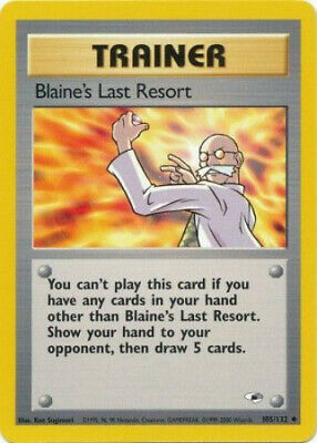 Pokemon Card - Gym Heroes 105/132 - BLAINE'S LAST RESORT (uncommon) - NM