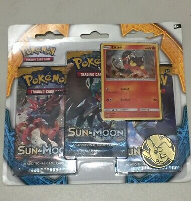 x1 Pokemon Sun and Moon 3 Pack Blister Sealed w/ Litten & Pikachu Coin free ship