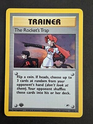 The Rocket's Trap 19/132 FIRST EDITION Gym heroes HOLO Pokemon TCG NM