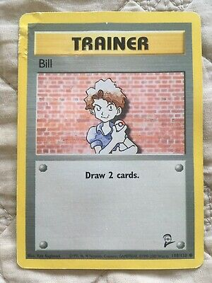 Pokemon Card Trainer Bill Base Set 2 118/130 Draw 2 Cards Played