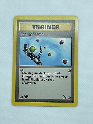 59/62 TRAINER: ENERGY SEARCH Pokemon 1st Edition Fossil Card