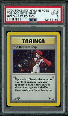 Pokemon Gym Heroes 1st Edition The Rocket's Trap 19/132 PSA 9