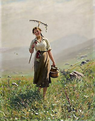 Печатные Young Woman in the Meadow