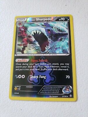 Pokemon TEAM AQUA'S SHARPEDO 21/34 - Double Crisis RARE Rev Holo -NM