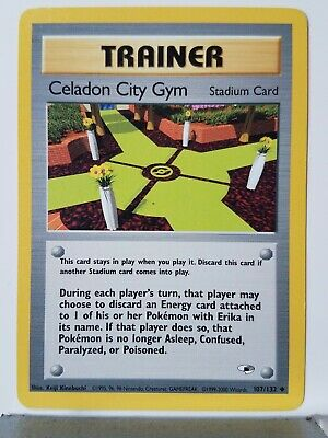 Celadon City Gym 107/132 LP - Gym Heroes Pokemon Card $1 Combined Shipping