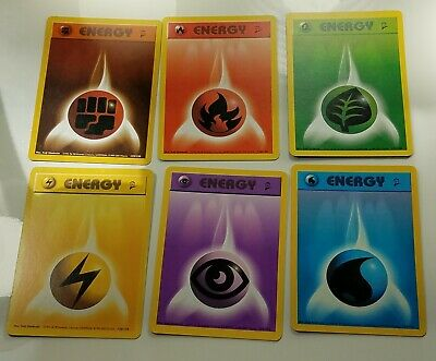 6x Pokemon Base Set 2 /130 Fighting Grass Lightning  Psychic Water Energy Cards