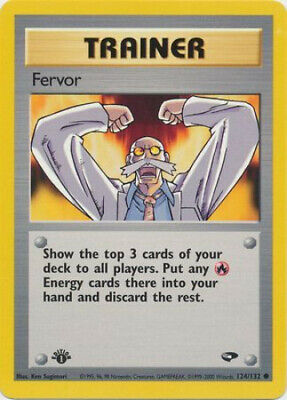 Pokemon Card - Gym Challenge 124/132 - FERVOR (common) **1st Edition** - NM