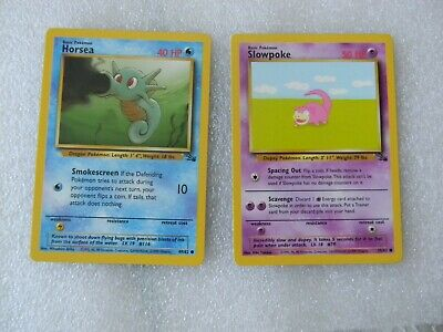 2 - 1999 Wizards Pokemon Cards #49 Horsea & #55 Slowpoke From Fossil Set Dec182