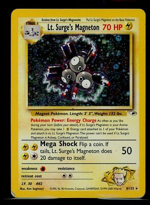 Lt. Surge's Magneton 8/132 Pokemon TCG Gym Heroes Unlimited Moderate Play