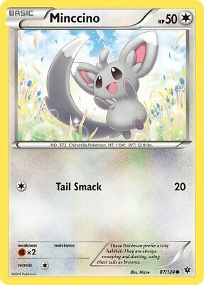 Minccino 87/124 - Common Pokemon Card - Fates Collide Set (2016) - NM