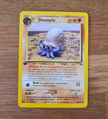 Omanyte 60/75 - Common 1st Edition-  Neo Discovery Pokemon Card Set 2001