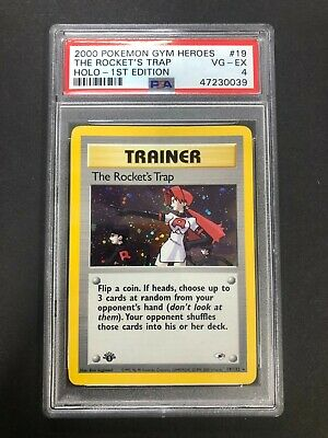 2000 Pokemon Gym Heroes The Rocket's Trap Holo PSA 4 First 1st Edition 19/132 19