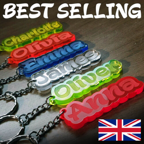 BEST Personalised FROZEN KEYRING KEYCHAIN GIFT ANY NAME SCHOOL BAG TAG LASER WOW