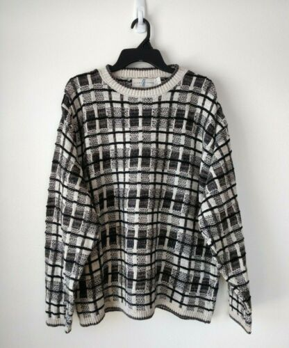 5cffed4a98 River Trader Mens Sweater Size L Cotton Linen Plaid Cream Black Brown  Pullover
