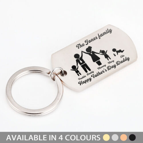 Personalised Keyring Family Portrait Daddy, Dad, Grandad, Gifts, Fathers day