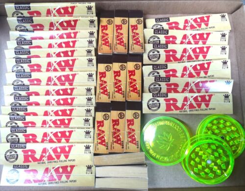 King Size RAW Rolling Papers + RAW Tips!! Grinder set with lighter, smokers kit