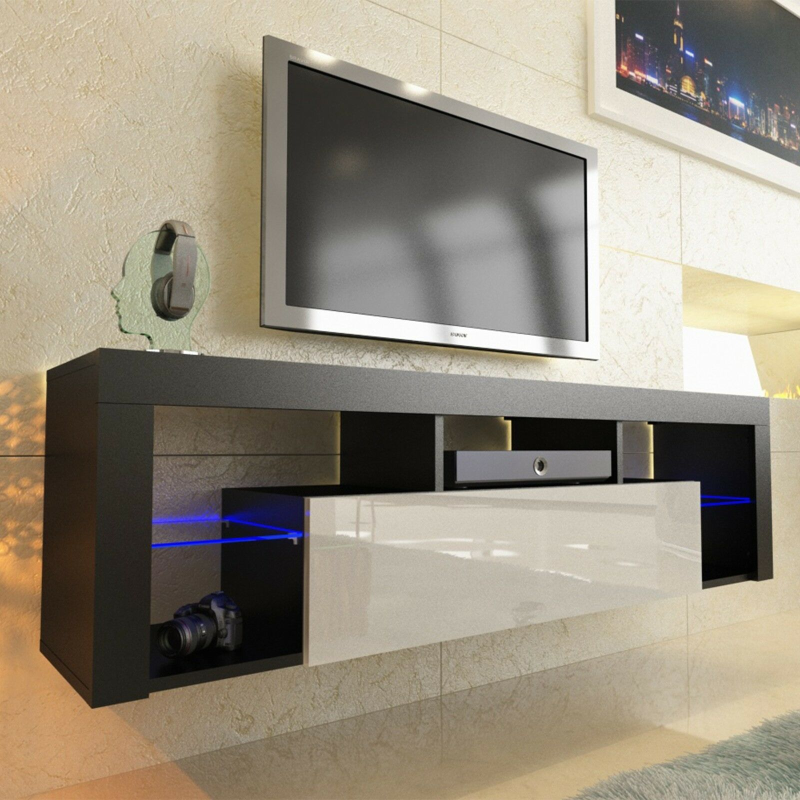 tv board beton lowboard tv merina stand in matt white. Black Bedroom Furniture Sets. Home Design Ideas