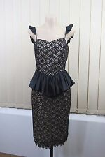 Size S / 10 Ladies Black Lace Dress Retro Peplum Cocktail Wedding Evening Design