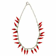 Funky Red Hot Chilli Glass T-Bar Necklace Pendant - Joe Cool