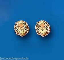 9ct Yellow Gold 6mm Real Citrine Solitaire Stud Earrings - Uk Made - Hallmarked