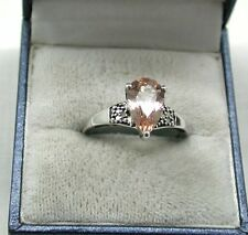 Fabulous 9ct White Gold And Pear Shaped Pink Tourmaline And Diamond Ring