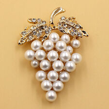 Buckle Rose Gold Clip Pins Plated Gold Pearl Rhinestone Grapes Brooch