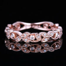 Vintage Estate Wedding Band Real 10K Rose Gold Engagement Natural Diamond Ring