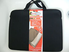 Laptop Macbook Neoprene Black Carry Bag Sleeve With Two Handles and Zip up to 15