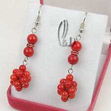 AU SELLER Chic Red Genuine Natural Coral Earrings 030274