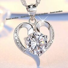 BLACK FRIDAY OFFER - 925 Silver Heart Diamond Necklace Women Xmas Gifts For Her