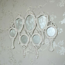 White wooden vanity multi mirror shabby vintage chic pretty ornate bedroom hall