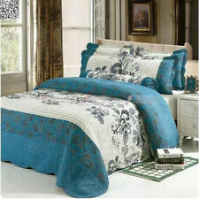 Queen/King Size Florals Teal Patchwork Quilted Coverlet/BedSpreads Set 3Pc AC457