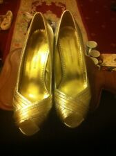 """ladies-silver Metallic 4"""" Heel Party/Dance Shoes by Dorothy Perkins-Size 5-fab!!"""