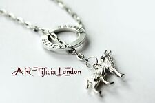 Handmade Wolf & Believe Charm Lariat Necklace Unique Jewellery Christmas Gift