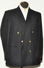 "SUPERB BROOK TAVERNER DOUBLE BREASTED TWILL WOOL BLAZER JACKET 42"" L NAVY BLUE"