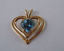 100% Genuine 14k Solid Yellow Gold & Heart Shaped Natural Topaz Love Pendant