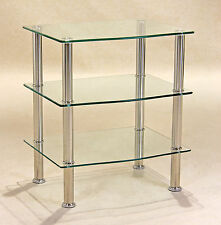 Hudson Three Shelf Clear Glass Entertainment Stand - TV DVD Console Hi-Fi Unit