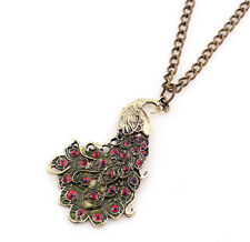 Hot Design Fashion Vintage Style Beautifull Peacock Pendant Long Chain Necklace