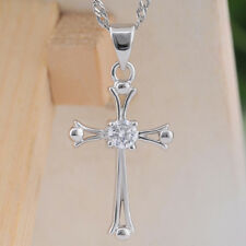925 Sterling Silver Platinum Plated Cross Crystal Necklace Pendant Girl Jewelry