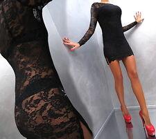 Unique Transparent Stretch Schwarz Spitze Best Fit L36 DAMEN TOP DRESS KLEID M