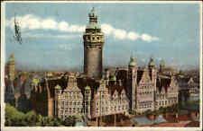 Leipzig Sachsen alte Color Postkarte 1946 gelaufen Partie am Neuen Rathaus Turm