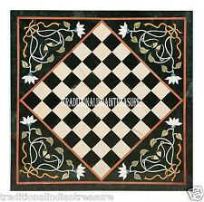 "24"" Black Marble Coffee Chess Table Top Marquetry Pietradure Patio Decorative"