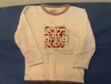 Boys 4 Years - White, Brown & Red Long Sleeved Top with Logo - Timberland
