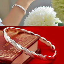 Women Cuff Charm Chain Hot Silver Stripe Bracelet Bangle Pearl Jewelry Gift EY