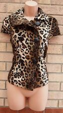 NEW LOOK FAUX FUR LEOPARD ANIMAL PRINT SLEEVELESS COAT T SHIRT TOP GILLET 10 S