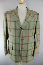 CLASSIC VINTAGE 1980's GUARDS PURE WOOL CHECKED GREEN TWEED JACKET 40 INCH
